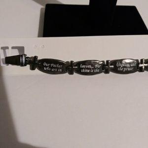 Jewelry - HEMATITE LORD'S PRAYER CROSS BRACELET